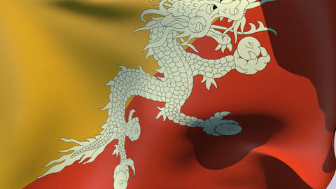 Flag of Bhutan Stock Video Footage