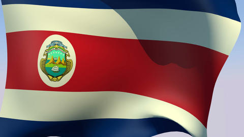 Flag of Costa Rica (state) Stock Video Footage