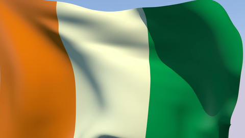 Flag of Cote d'Ivoire Stock Video Footage