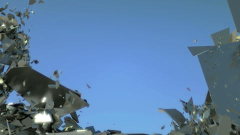 Freedom: Shattered wall with slow motion and blue sky. Alpha is included Animation