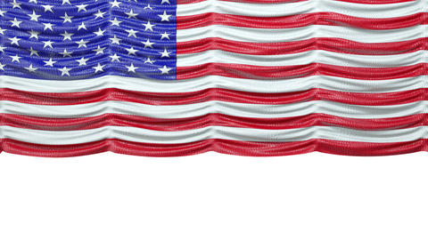 USA Mock Croc Flag Curtain Up. Alpha Is Included. Rewind To Drop stock footage