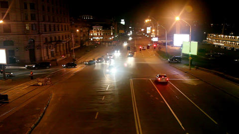 Night traffic on the street Stock Video Footage
