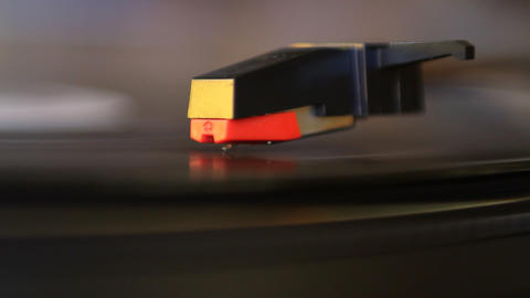 Vinyl rotating and cartridge lifting off Stock Video Footage