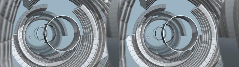 Reflective Radial Tunnel - Stereo 3D Stock Video Footage