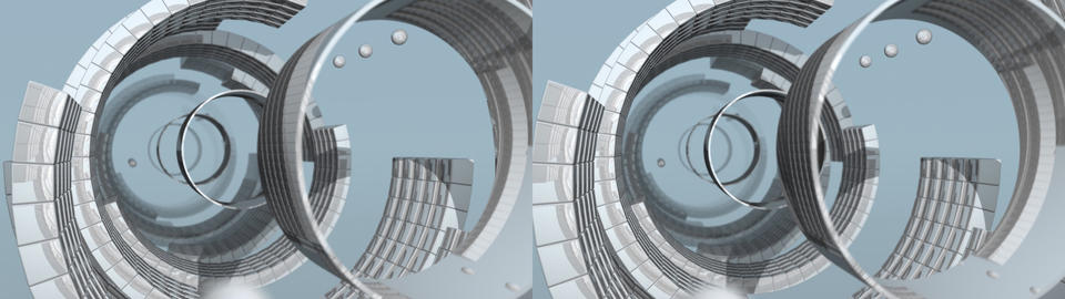 Reflective Radial Tunnel - Stereo 3D Animation