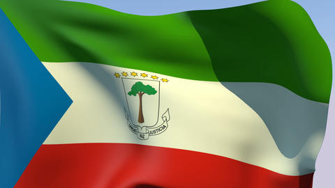 Flag of Equatorial Guinea Stock Video Footage