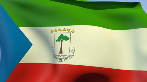 Flag of Equatorial Guinea Stock Video Footage