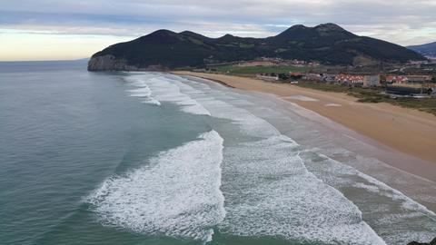 view from height on an ocean surf on a winter beach Photo