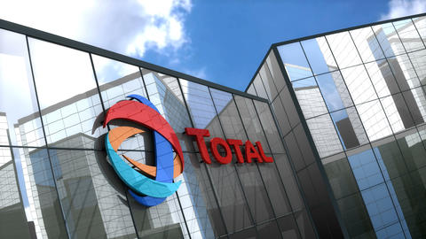 Editorial Total logo on glass building Animation