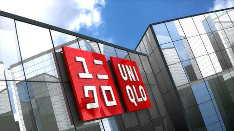 Editorial, Uniqlo Co., Ltd. logo on glass building Animation