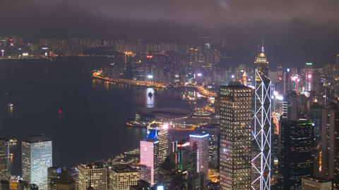 Hong Kong city business district night scene time lapse Footage