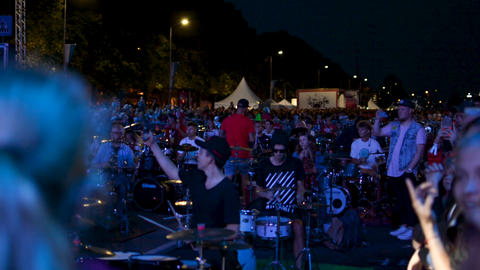 Riga, August 19: hundreds of drummers performing at the same time at National Footage