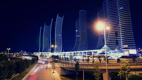 Urban city night traffic time lapse GIF