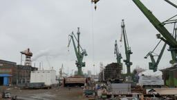Shipyard cranes and view on Shipyard in Gdansk, Poland Footage