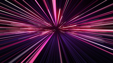 Space Travel Through Stars Trails Pink-Blue Color. Beautiful Abstract Hyperspace Animation