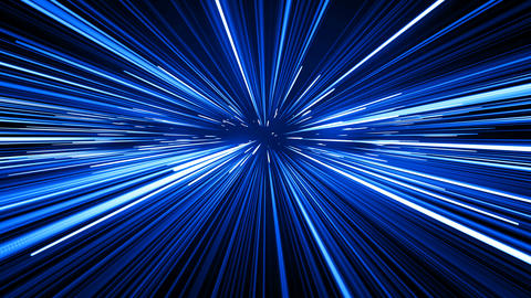 Space Travel Through Stars Trails Blue Color. Beautiful Abstract Hyperspace Animation