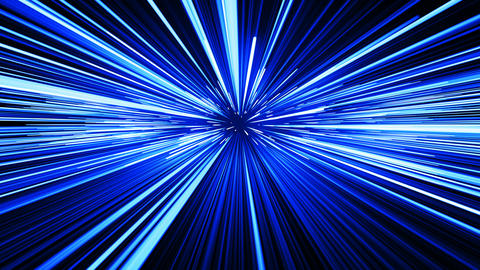 Beautiful Fast Space Travel Through Stars Trails Blue Color. Abstract Hyperspace Animation