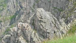 Granite walls of Snowy Cirque in Karkonosze/Krkonose mountains. Geology Footage