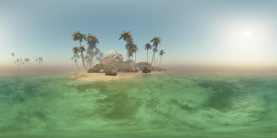 vr 360 panoramic of tropical island beach at sunset ビデオ
