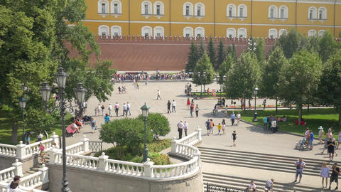 MOSCOW, RUSSIA, JULY 27, 2018. View of the Alexander garden. Residents and Footage