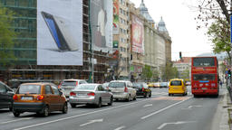 Budapest. Street view. Traffic. Daily life Footage