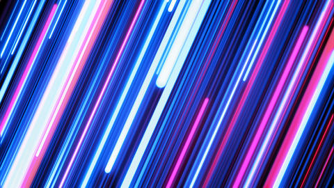 Beautiful Colored Neon Diagonal Trails Moving Illuminating. Pink and Blue on Animation