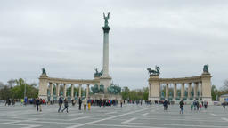 Heroes Square, Budapest, Hungary Footage