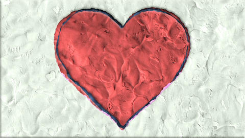 Big Heart Made of Clay in Stop Motion Archivo
