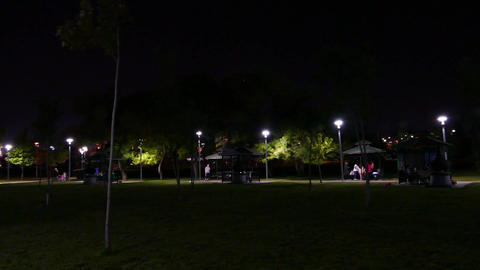 Night and people are having a picnic in the park recreation Live Action
