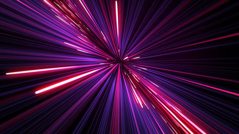 Moving Through Beautiful Glowing Neon Lines Pink-Blue Color. Illuminating Stars Animation