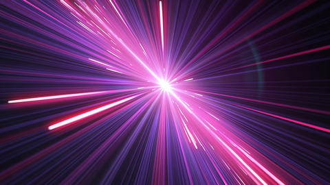 Moving Through Beautiful Neon Lines Pink-Blue Color. Illuminating Stars Trails. Animation