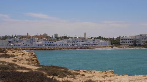 Panoramic view blue sea and Monastir city. Coastline of sea in arabian city GIF