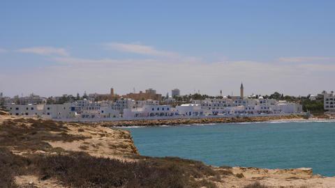 Panoramic landscape blue sea and coasline vith view on modern Monastir city Footage