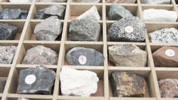Rock and minerals inside of case Stock Video Footage