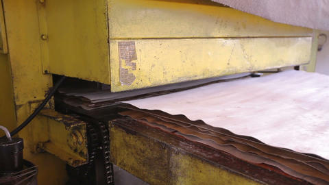 Conveyor with plywood in the furniture factory. Natural environmentally friendly Live Action