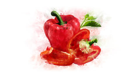 Red bell pepper set for video editing Animation
