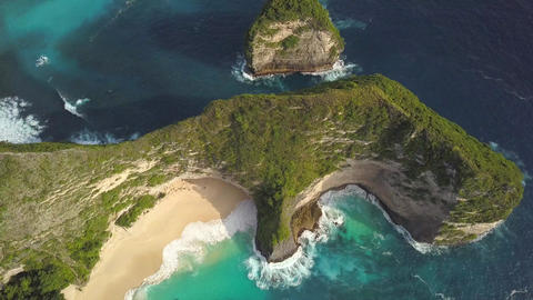 Aerial: Popular Touristic Destination Kelingking Beach in Nusa Penida, Bali Footage