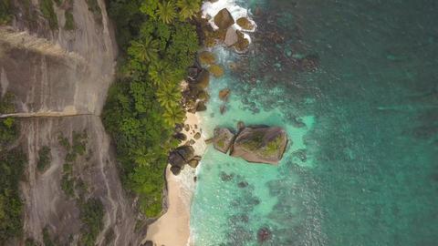 Amazing Secret Sandy Beach at Paradise Island. Nusa Penida, Indonesia. 4K Aerial Footage