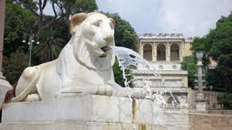 ROME, ITALY - CIRCA May 2018: Lion fountain on Piazza del Popolo in Rome. Water Footage