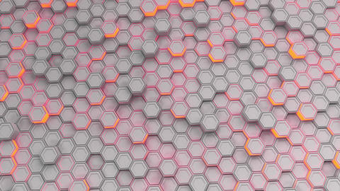 Wall of white hexagons with red glow Animation