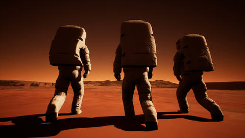 Three astronauts in spacesuits confidently walk on Mars in search of life Animation