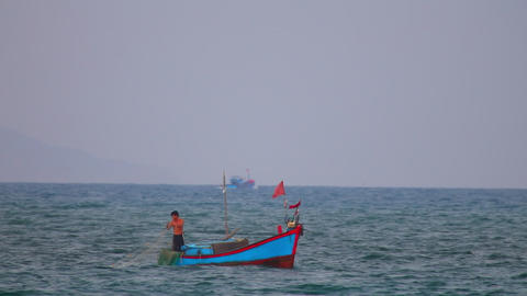 South China Sea Vietnamese Fishing Boat Casting Net Footage