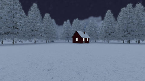 Winter background forest with tree house - night Animation