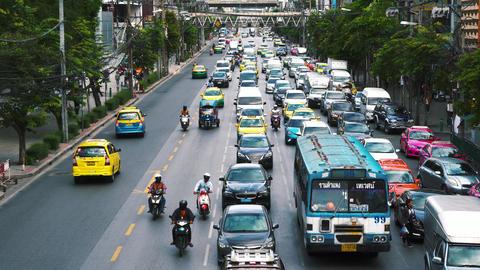 road traffic on the city road Bangkok 2018 Footage
