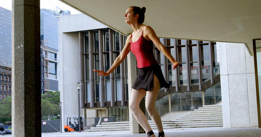 Female ballet dancer performing in the city 4k Live Action