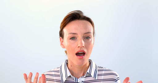 Shocked woman standing against white background 4k Live Action