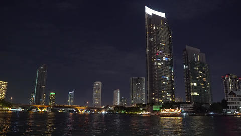 modern office in a high-rise building of a large city. skyscrapers at night Footage