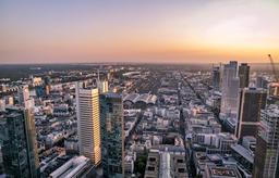 Aerial of the financial district in Frankfurt, Germany - Europe Fotografía