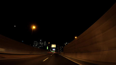 Road in Japan. Tokyo, go straight on the night capital highway ビデオ