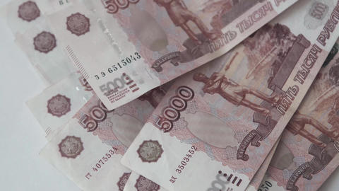 Rouble. Money. Bill 5000. Counting money Footage